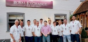Headley Cricket Club team in sponsored shirts at The Royal Exchange