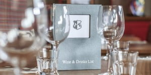 Wine & Drinks menu on restaurant table