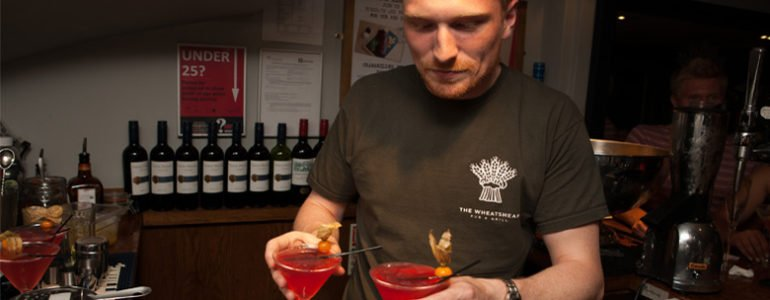 Nat Thatcher, Pub Manager, making cocktails